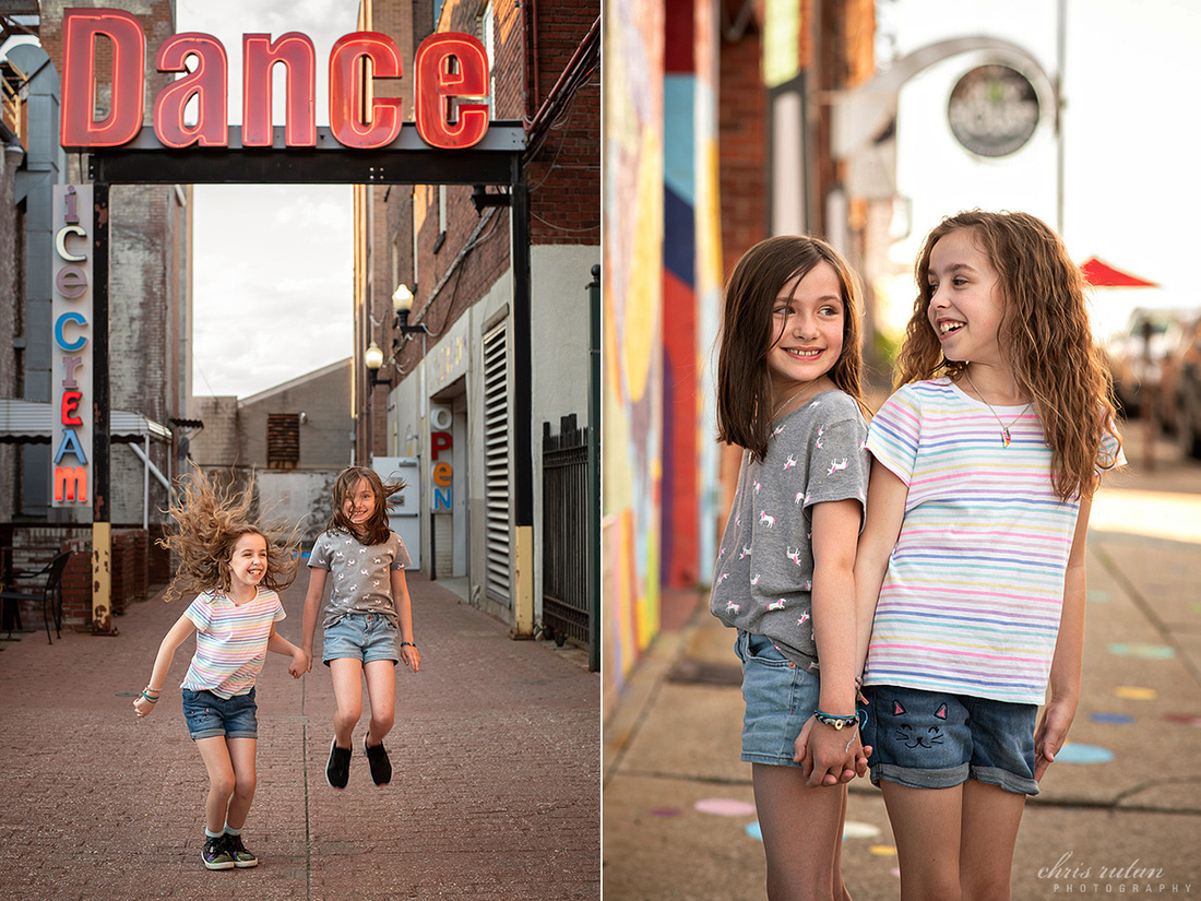 downtown akron ohio chris rutan photography tween photo shoot session bestie family photographer kids children girls chilled ice cream art bomb brigade